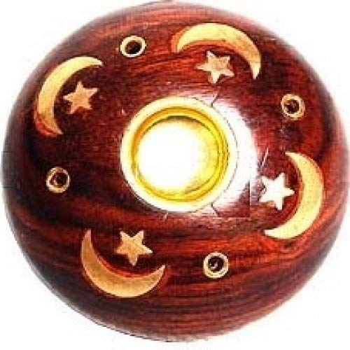 Celestial Brass Inlay Wooden Round Incense Stick & Cone Holder [2-Pack - 3 1/2