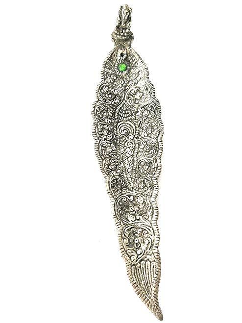 Ganesh Metal Incense Burner, Incense Holder, Ash Catcher - Gorgeous Petal Shape - Ideal for Sticks and Cones - Antique Silver Finish